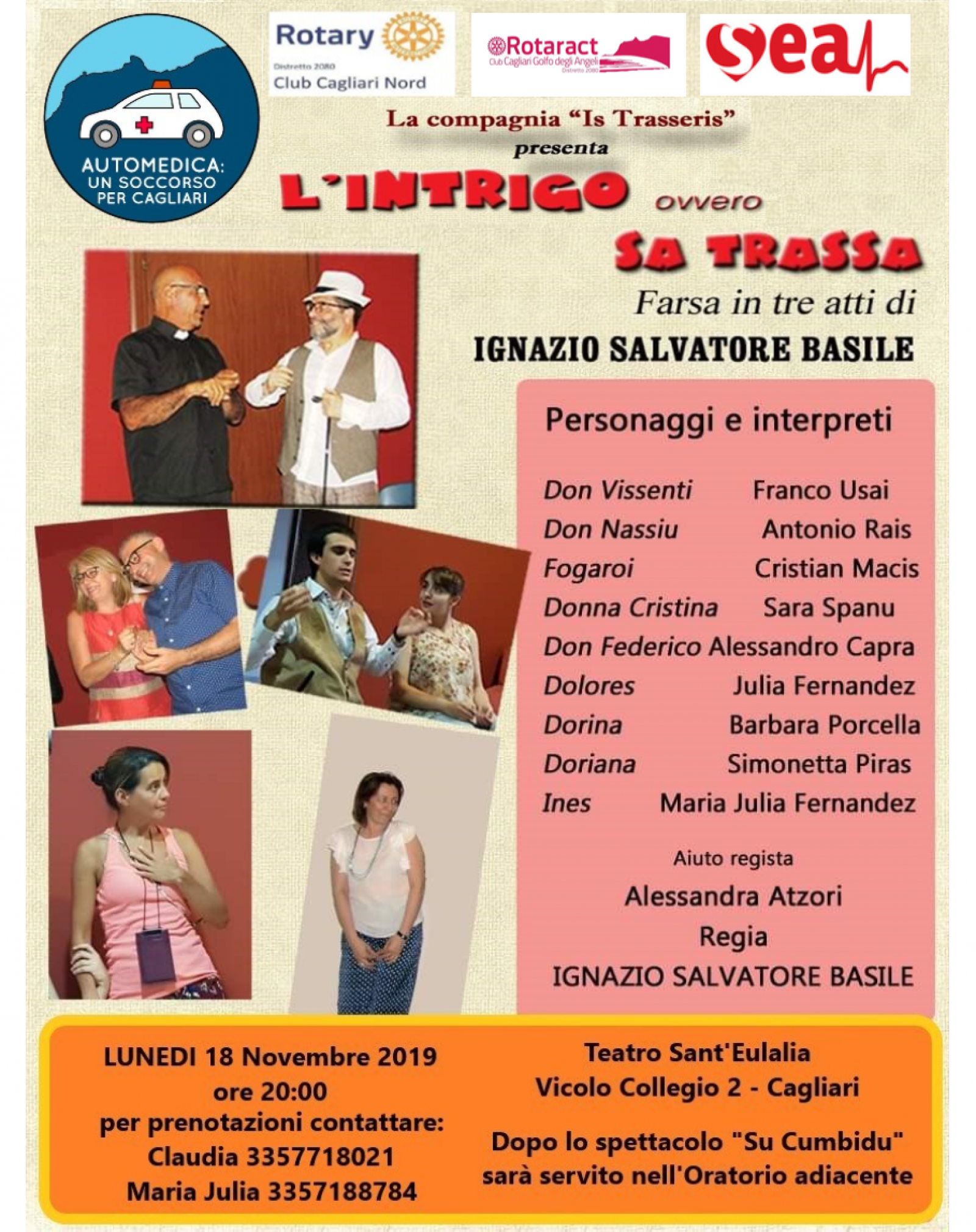 """Gallery - """"Rotary a Teatro"""" va in scena """"Sa Trassa"""" commedia giocosa in tre atti di Ignazio Salvatore Basile"""